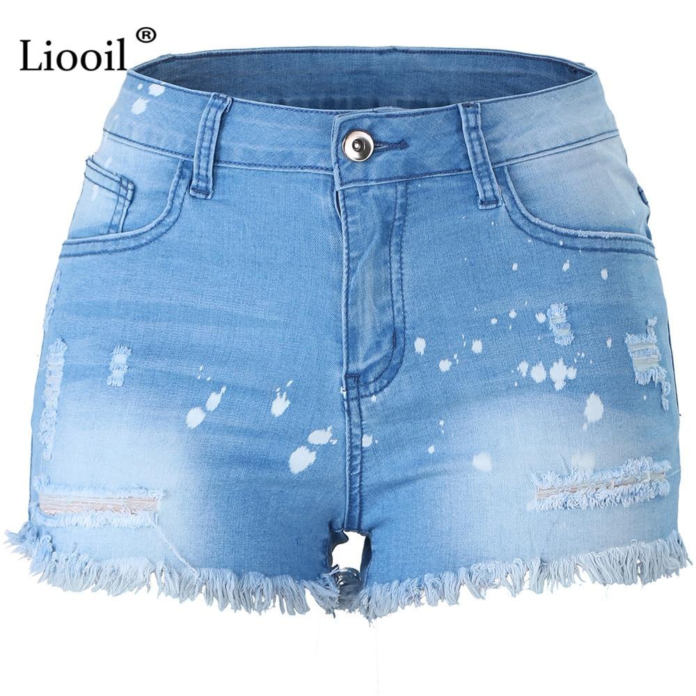Liooil Blue Plus Size Hole Shorts Women Casual 2019 Cotton Sexy Rave Jean Short Fashion Mid Waist Pocket Tassel Denim Shorts