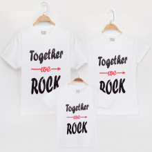 2019 T-Shirt Family Clothing Matching Outfits Together We Rock Letter Cotton Mom Mother Daughter Mommy And Me Clothes T Shirts