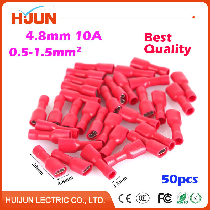 50pcs 4.8mm Red Female Splice Crimp Terminal Fully Insulated Wire Cable Connector Electrical Spade 100 pcs 6 3mm crimp terminal cable female spade connector wire 20cm 22awg red