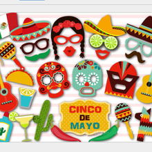 29pcs /Set Funny birthday summer party Decor Cute Face Mask Mexican Photobooth Props Mask Prop For P