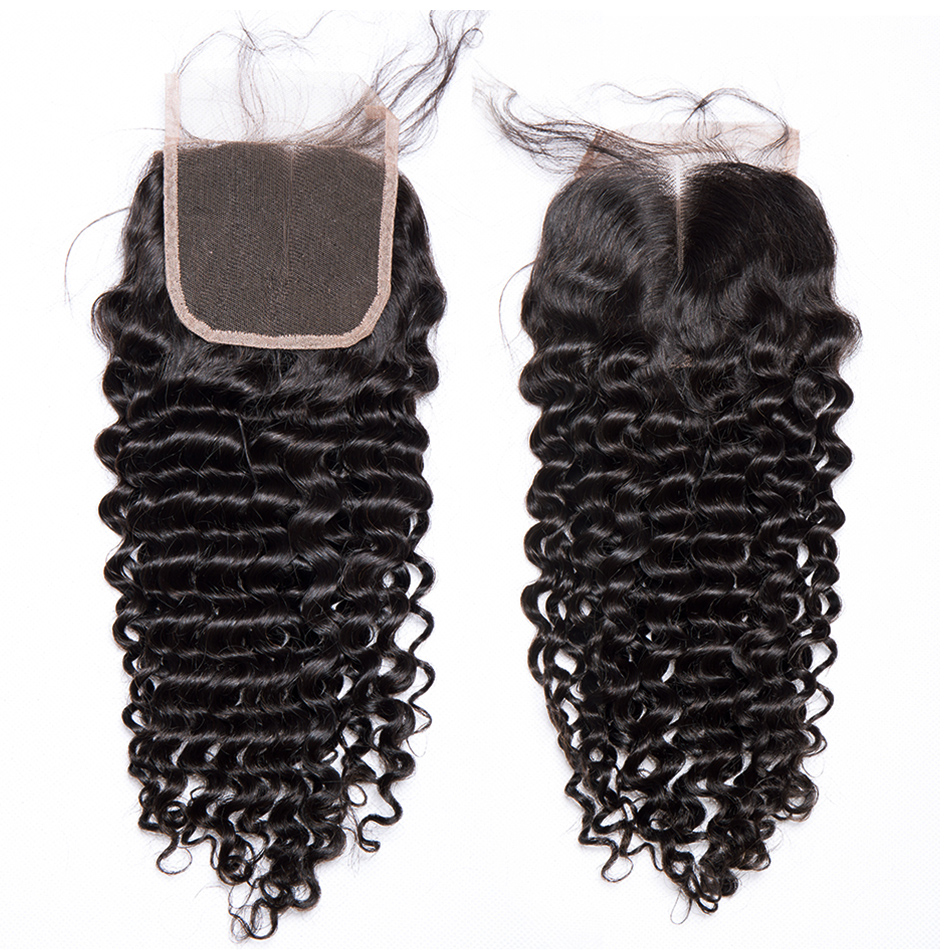 Alibele Malaysian Deep Curly Lace Closure Free Parting Bleached Knot 4 x 4 Swiss Lace 100