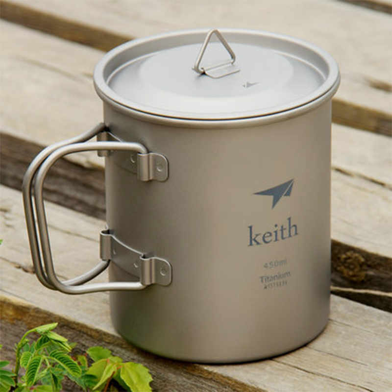 Keith New 450ml Folding Handle Single wall Titanium Mug With Lid Bacteriostatic Non toxic Drinkware Copos