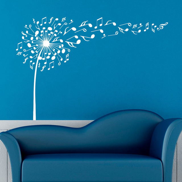 Creative dandelion music notes wall decals decor high quality vinyl wall stickers for bedroom removable