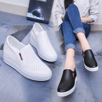 2019 Spring New Flat Platform Shoes Women Pu Leather Breathable Casual Shoes Increase Within Skateboard Shoes White Sneakers