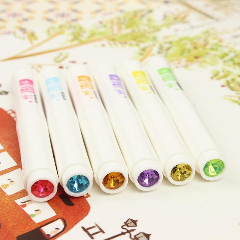 6 Pcs/lot (1 Bag) Creative Double Head Highlighters Cute Kawaii Crystal Marker Pens Korean Stationery Student 1508