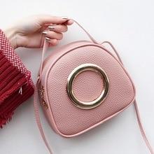 Women Handbags PU Small Shoulder Bags Candy Color Sweet Crossbody Metal Ring Portable