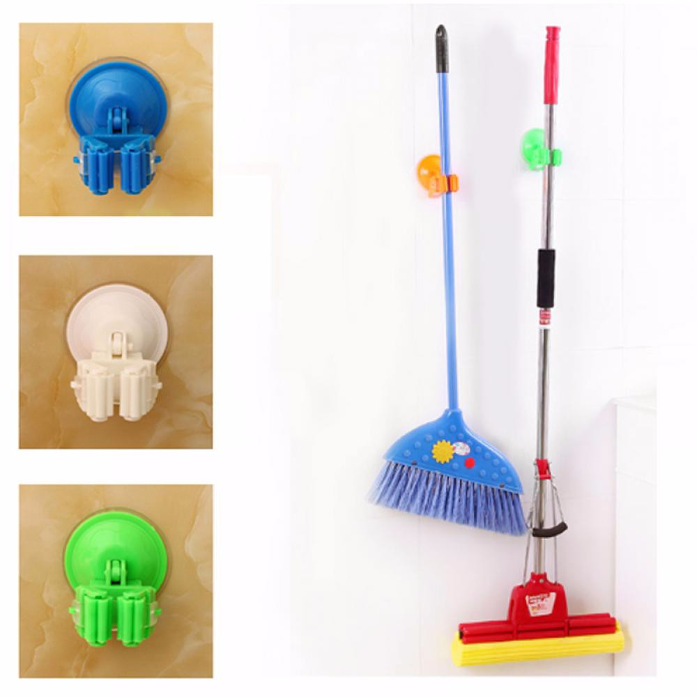 Mop Broom Suction Cup Holder Wall Vacuum Hanger House Organizer