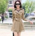 Nova primavera outono mulheres Coreanas blusão casaco grandes estaleiros longa seção de blusão casaco de trincheira magro ocasional de manga comprida com cinto
