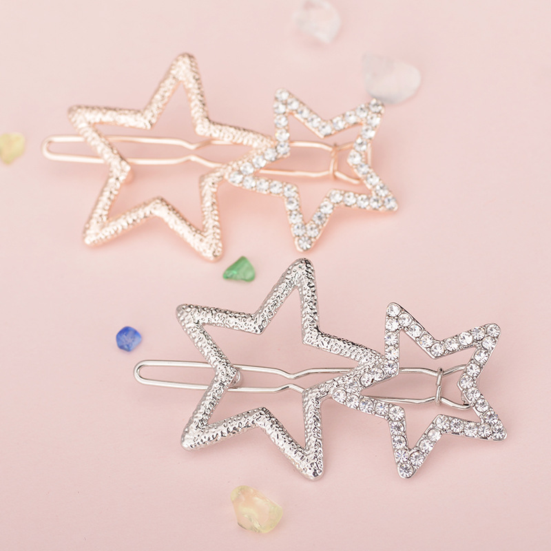 Women Ladies Popular Hollow Star Hairpin Metal Hair Clips Delicate Hair Decorations jewelry Hair Accessories   Headwear