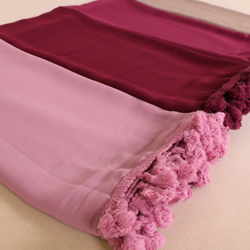 Women Fashion Plain Solid Tassel Bubble Chiffon Instant Hijab Shawls   Scarves     Wrap   Muslim Sjaal Kerchief Echarpe Foulard Femme