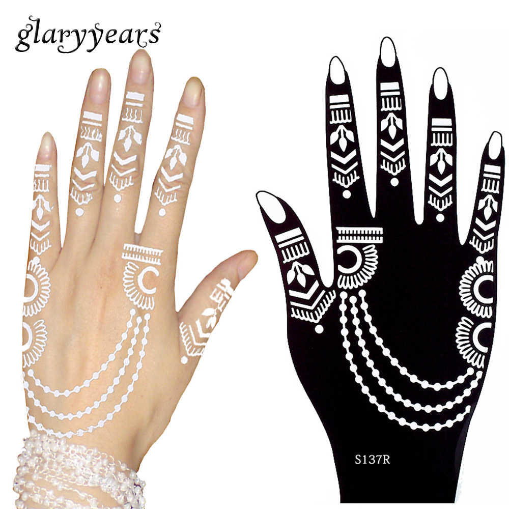 1e12e87a9 3 Pairs Flower Lace Henna Hands Tattoo Stencil Paste Drawing Jewelry Style  for Women Body Painting