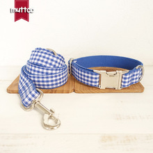 Personalized Handmade Blue Plaid Dog Collar Leash Set Nylon Dogs Collars And Leashes Set For Small Medium Large Dogs Pitbull