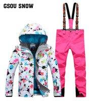GSOU снег зима двойной одноплатный Для женщин лыжный костюм Открытый Водонепроницаемый ветрозащитный дышащий Теплая Лыжная куртка + брюки