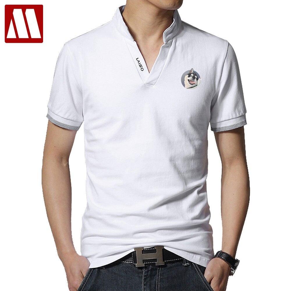 New Style Summer Polo Shirts Cute Siberian Husky Men Polo Shirts