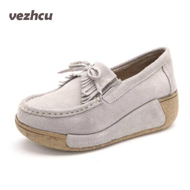 VZEHCU Women Flat Platform Shoes Fashion Suede Leather Moccasins Shoes Woman Slip On Tassel Moccasin Women's Casual Shoes pcd49