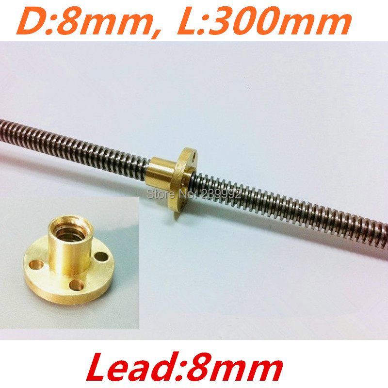 RepRap 3D Printer THSL-300-8D Lead Screw Dia 8MM Thread 8mm Length 300mm with Copper Nut Free Shipping Dropshipping