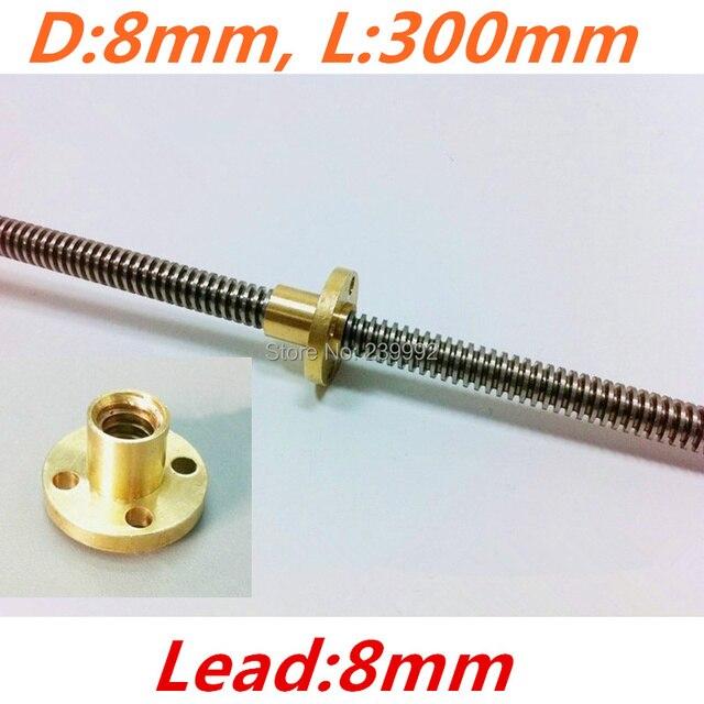 Reprap 3d printer thsl-300-8d chumbo screw dia 8mm rosca 8mm comprimento 300mm com porca de cobre frete grátis dropshipping