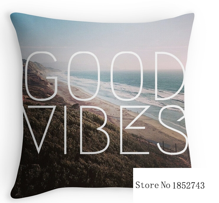 Good Vibes Cool Beach Tumblr Hipster (two sides) Pillow Cases cushion cover for 12 '14'16'18' 20'24' inch free shipping