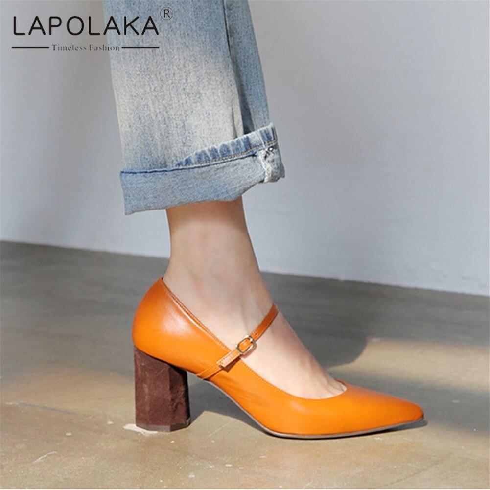 Lapolaka mode nouveau cuir véritable offre spéciale pompes noires femme chaussures talons épais bout pointu boucle chaussures femme
