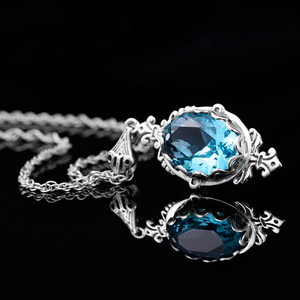 Image 3 - Szjinao Real 925 Sterling Silver Pendant For Women Aquamarine Necklace Pendants Oval Gemstone Vintage Viking Fine Jewelry Gift