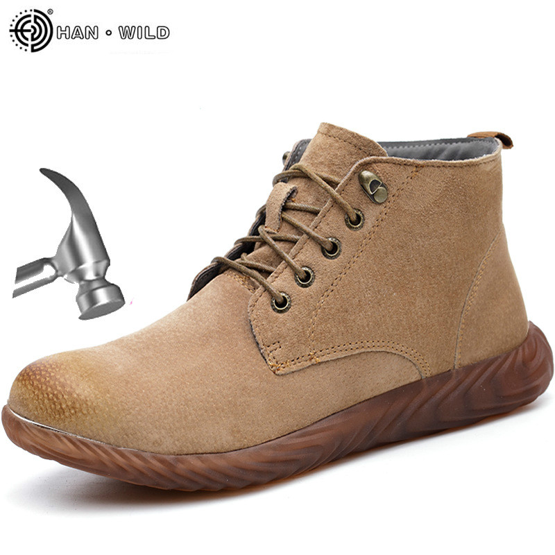 Genuine Leather Safety Work Boots Men Crazy Horse Leather Steel Toe Boot Mens Fashion Desert Popular High Top Work Shoes Male