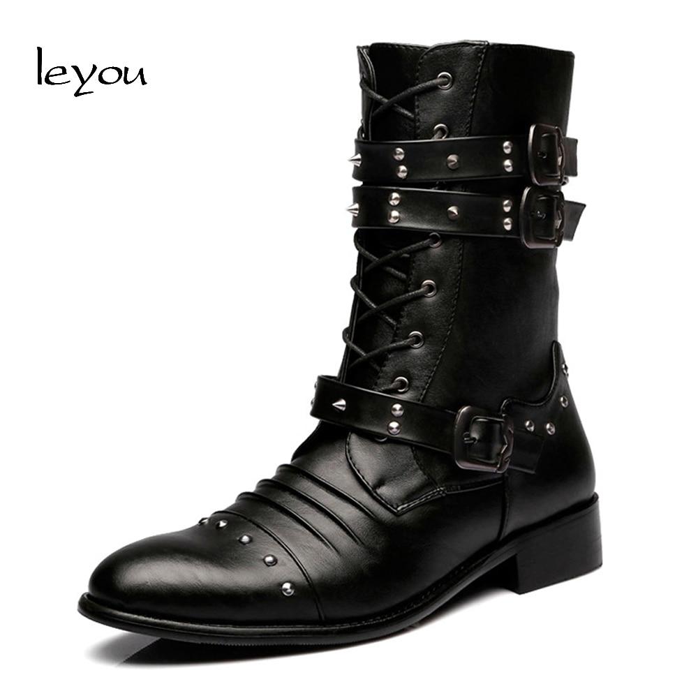 Leyou Men Formal Dress Boots Heels Mens Military Mid Calf