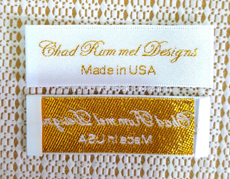 Custom clothing satin woven labels garment embroidered tags golden silver thread collar label dress labels tags