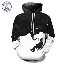 Mr.1991INC 2018 Mode 3d Hooded sweatshirt Roken Zwart wit print Mannen/Vrouwen Merk Hoodies Sweatshirts Space Galaxy trui(China)