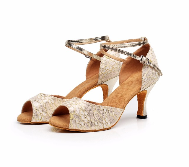 d57d745ab Mulheres Ballroom Latina Salsa Dança Sapatos De Salto Alto 7.5 cm Sandálias  de Casamento Festa de