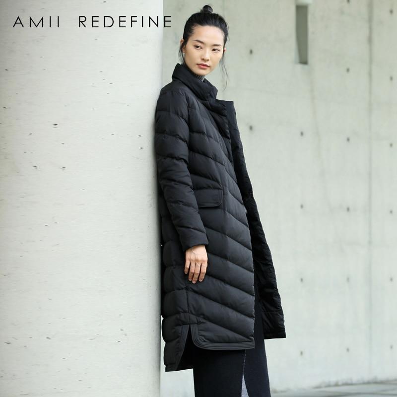 Amii пересмотреть плюс Размеры пуховик Для женщин зима 2018 повседневные теплые толщиной 90% белая утка вниз стенд воротник элегантный жакет пал