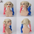 1PC beautiful cosplay mixed color Cosplay Wig Cos Harley Quinn Free Gift Cap U Part Wig Costume Women Synthetic Hair Wigs
