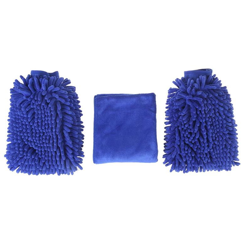 3pcs Car Wash Mitt Microfiber Double Sided Waterproof Chenille Wash Mitt Brushed Towel(2 Royalblue Gloves 1 Royalblue Towel)
