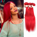 7A Newness Peruvian Red Human Hair Straight Peruvian Hair Weave Extensions 3 Bundles Red Remy Hair