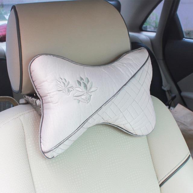 AUTO car-styling 1 pair lotus Breathe Car Vehicle Auto Seat covers Head Neck Rest Cushion Headrest Pillow Pad Hot jan25