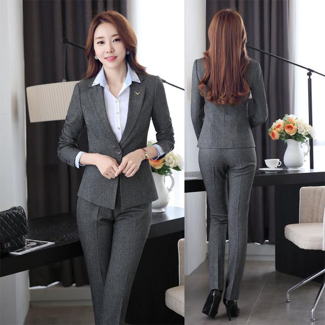 Novedad Otoño Invierno Diseño Uniforme Pantsuits Formal Oficina de Trabajo de Desgaste Profesional Chaquetas Y Pantalones Trajes de Pantalones Pantalones Fijados
