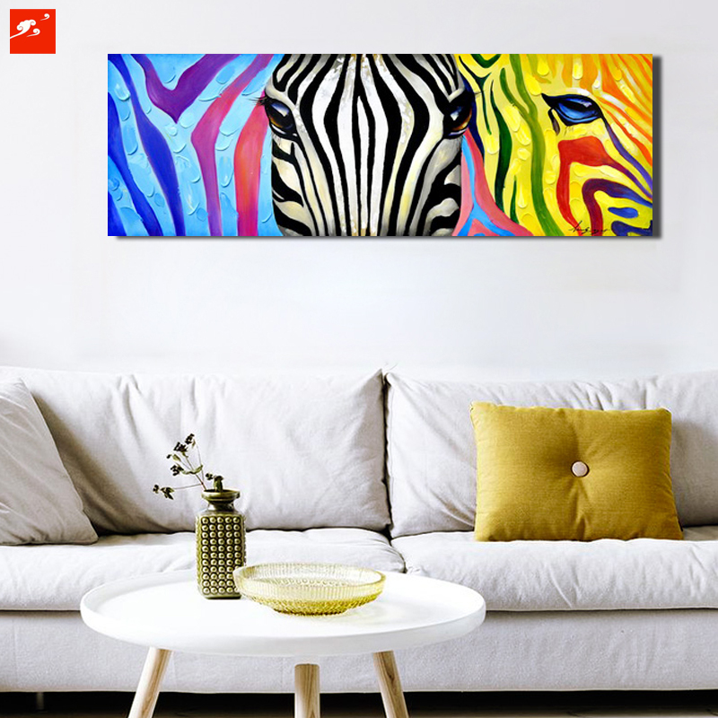 Pop colourful animal wall art zebra canvas oil painting on for Pop wall art