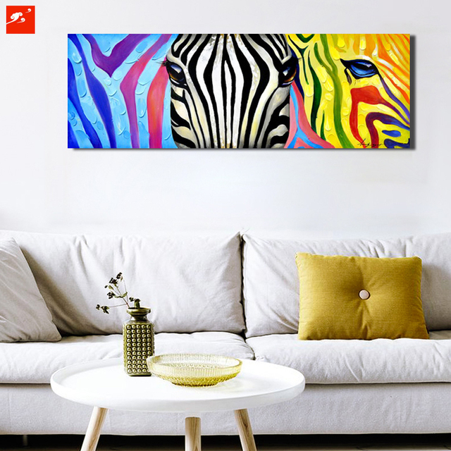 Pop colourful animal wall art zebra canvas oil painting on printing poster home decor picture for