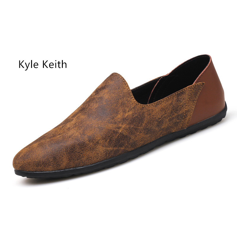 Kyle Keith New Cow Suede Casual Men Flats Loafers Genuine Leather Breathable Driving Shoes for Male Big Size 38-48 big size 39 48 men flats summer genuine leather loafers breathable driving shoes moccasines slip on male casual shoes xk032808