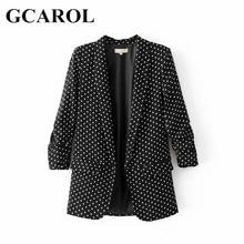 GCAROL New Arrival Spring Autumn OL Polka Dot Blazer Notched High Quality 3/4 Sleeve Ruffles Elegant Jacket Outwear For Ladies