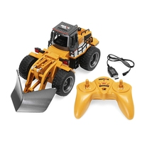 Alloy Construction Vehicle Model Toy 2.4G 6CH Remote Control RC Bulldozer Truck 1/18 Engineering Snowplow Model Truck With Light