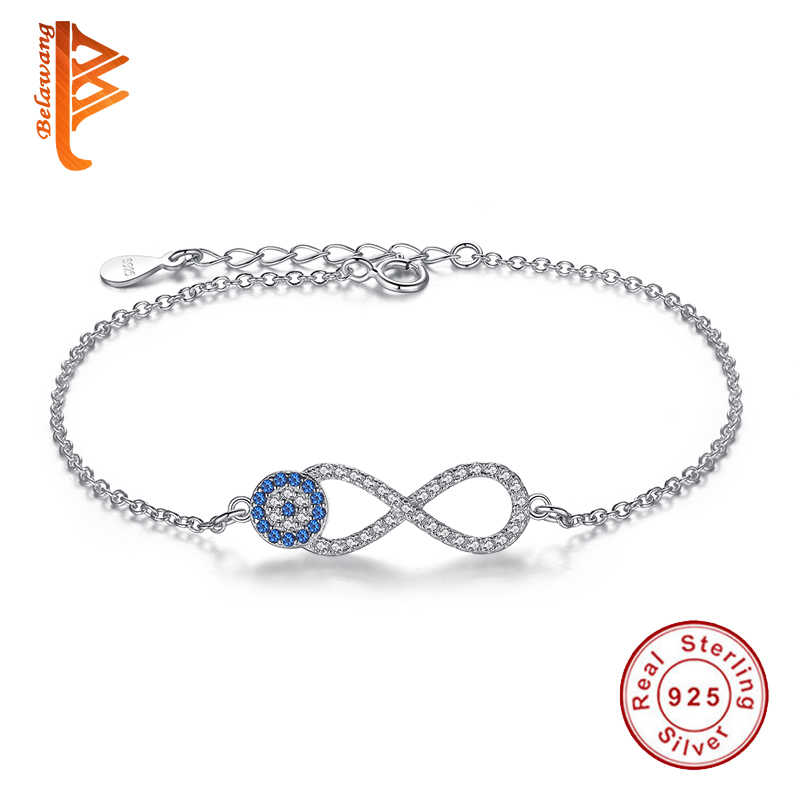 Fashion 925 Sterling Silver Bracelets Cubic Zirconia Lucky Eye&Infinity Charms Bracelet Link Chain Bracelets for Women Jewelry