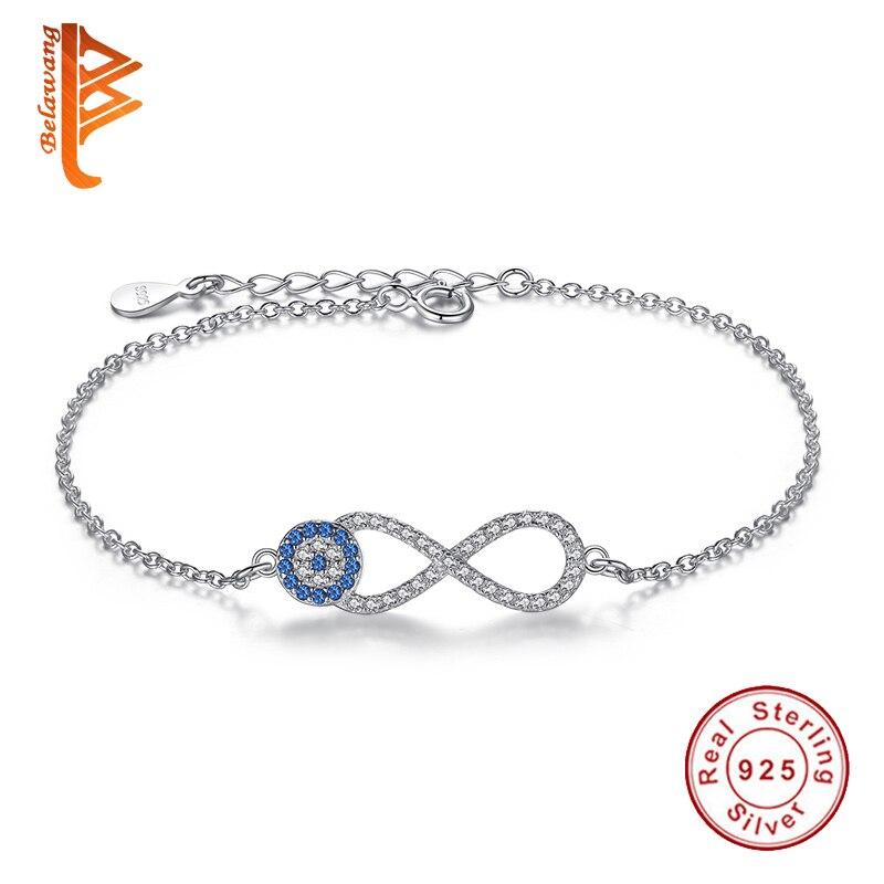 2016 New 925 Sterling Silver font b Bracelets b font Cubic Zirconia Evil Eye Infinity Charms