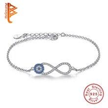 Fashion 925 Sterling Silver Bracelets Cubic Zirconia Lucky Eye Infinity Charms Bracelet Link Chain Bracelets for