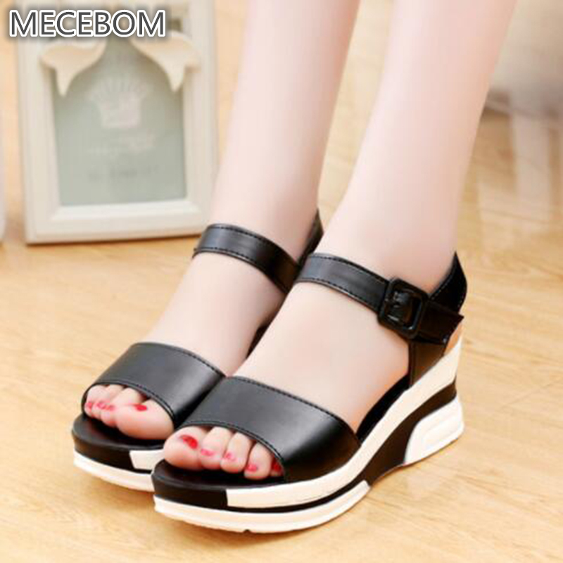 2017 New Summer sandals tide waterproof students Shoes wedges with thick bottom female Sandals tidal flat cake footwear 8904W old sandals female summer wild retro chic hong kong flavored cake 2018 new platform shoes