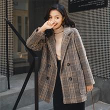 Womens Loose Plaid Woolen Coat , Short Suit for New Autumn and Winter