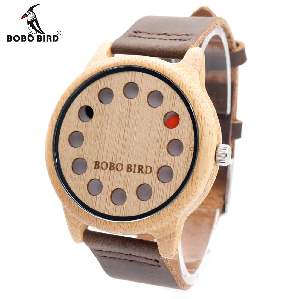 BOBO BIRD 12 Holes Design Bamboo Wooden Watch Mens Quartz Analog Watches with Genuine Leather Band