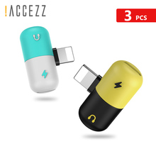 !ACCEZZ 3pcs 2 in 1 Audio For Apple Dual lighting Charging Adapter Connector iphone X 8 7 Plus XS XR AUX Splitter