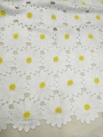 1 yard double colorl embroidery lace fabric, white yellow daisy flower lace couture lace fabric