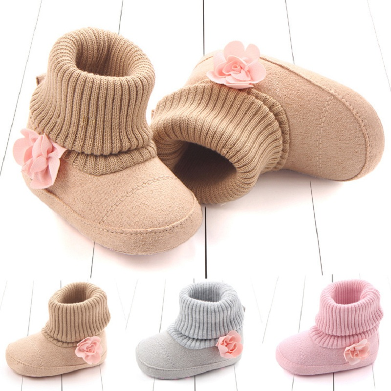 Winter Baby Shoes Flower Cotton Baby Boots Soft Soled Toddler First Walkers For Girls And Boys 0-1 Years