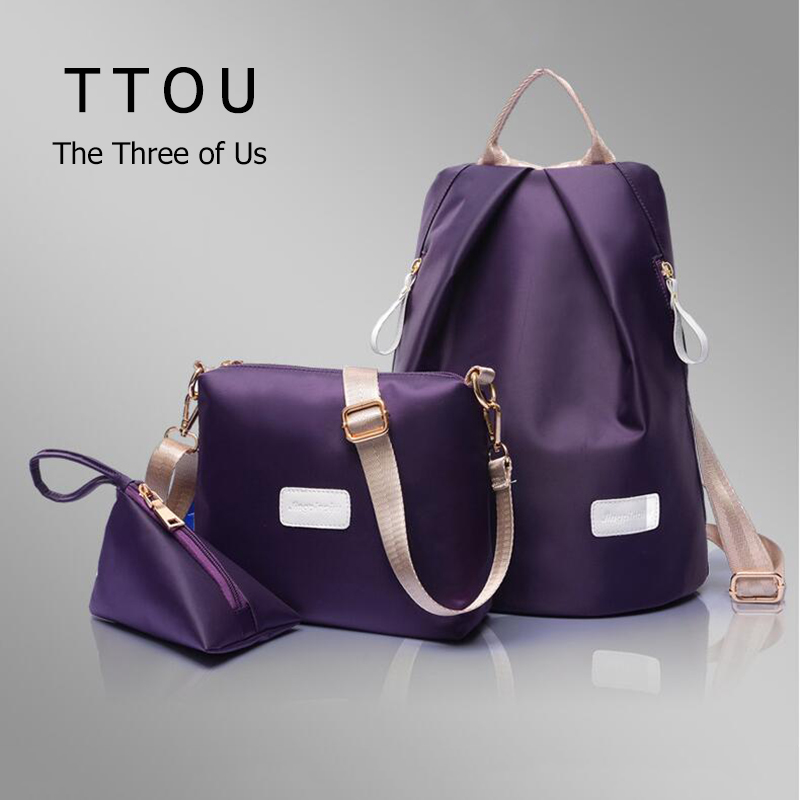 3 Pcs Fashion Composite Bag High Quality Waterproof Nylon Backpack Ultra Light Comfort Double Shoulder Backpack Solid Bags TTOU nylon double shoulder bag backpack